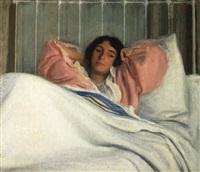 portrait of the artist's wife edith by joseph de camp