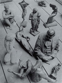 untitled - composition of sculptures on the floor by jaromir funke