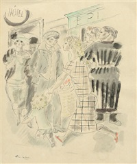 personnages dans une rue by charles laborde