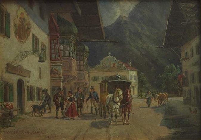 ankunft der postkutsche vor wirtshaus mit lüftl malerei in der gegend von mittenwaldoberbayern by ludwig müller cornelius