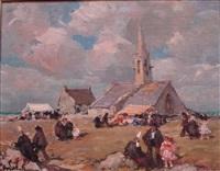 jour de fête à la chapelle saint-vio, finistère by emile joseph jules simon