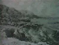 vista costera con montanas al fondo by vicente pastor calpena