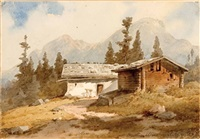 mutterer alm (+ kapelle in berglandschaft, 1882; 2 works) by gustav von gasteiger