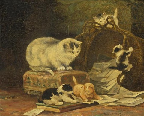 mischievious kittens by henriette ronner knip