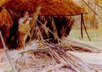 making wooden hoops, sussex by william henry charles groome