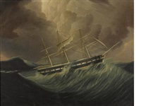 the packet ship st. patrick in rough seas by james edward buttersworth
