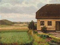 landscape with a yellow cottage by hans ludvig smidth
