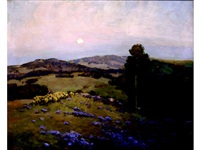 california landscape with shepherdess and flock in a field of bluebells by edward leslie
