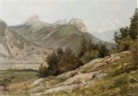 vue sur les montagnes de chartreuse. le saint-eynard, la dent de crolles, chamechaude. by jean-célestin-tancrède bastet