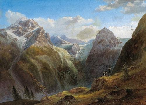 blick auf den ortler im vordergrund zwei jäger by joseph gerstmeyer