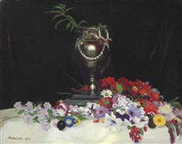 urn and flowers on a table by william nicholson