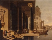 an architectural capriccio of a lakeside palace with the departure of the prodigal son by j. bartoldy
