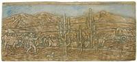 triptych of an ox cart caravan by batchelder tiles