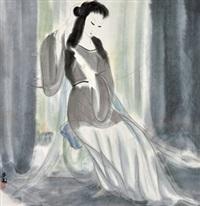 晨妆 镜心 设色纸本 by lin fengmian