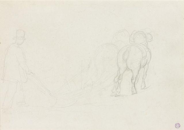 paysan anglais conduisant une charrue trois personnages en costume oriental et deux reprises de têtes verso by théodore géricault