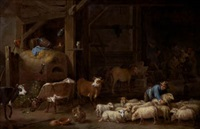 interior de granero con ovejas by david teniers the younger and cornelis saftleven