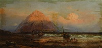 zeilboten en vissers bij een rotsachtige kust met kasteel in de verte (voiliers et pêcheurs près d'une côte rocailleuse, château à l'arriere-plan) by clarence henry roe