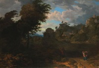a pastoral landscape with figures on a path before a hill town by johannes (jan) glauber