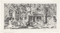 house on main street, easthampton by childe hassam