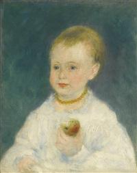 l'enfant à la pomme (mlle de la pommeray) by pierre-auguste renoir