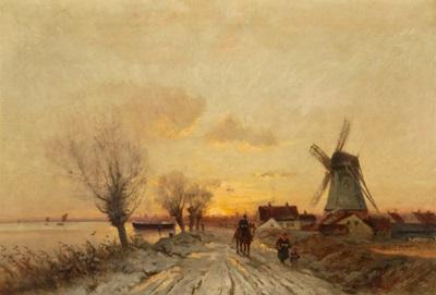 sonnenuntergang auf einer holländischen landstraße by xaver curt