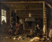 interior de taberna con chimenea, gallinas y perro by anthonie van borssom