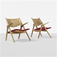sawbuck chairs, pair by hans j. wegner