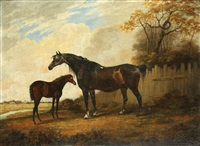 horse and foal in a parkland setting by dean wolstenholme the younger