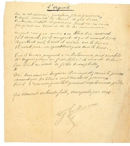 Poème Autographe Signé Lorgueil By Guillaume Apollinaire On
