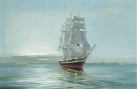 becalmed - the clipper ship anglesey by john bentham-dinsdale