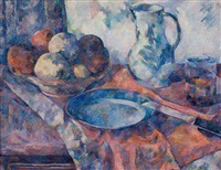 still life with fruits, plate, knives and jug by charles gottweiss