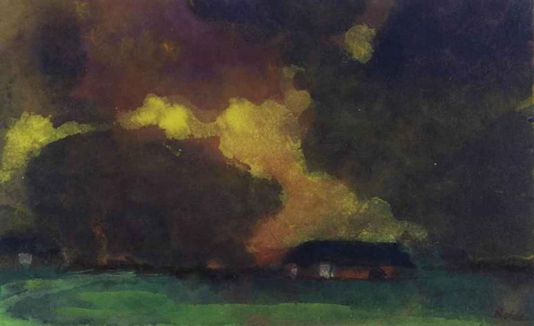 marschlandschaft und bauernhof unter hohem himmel seebüll by emil nolde