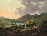 a mountainous lake landscape with travellers on a path in the foreground and boats on the lake beyond by william ashford