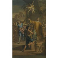 an outdoor scene with a saint in ecstatic rapture, surrounded by devotees by jacopo alessandro calvi