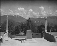 george vancouver statue at city hall (early vancouver series) by karl huber