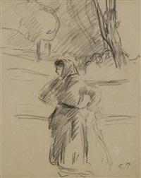 femme au fichu, mains à la hanche, dans un paysage by camille pissarro