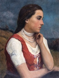 hungarian peasant girl by oszkár glatz