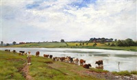 cattle watering by arthur wardle