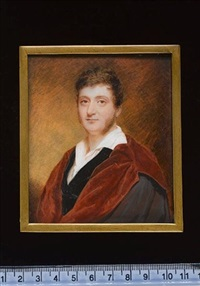 a gentleman wearing doctoral robes over black velvet coat and white chemise with wide collar by william john (sir) newton