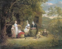 a family group with children and baby in a cradle before a thatched cottage, haymaking beyond by maria spilsbury
