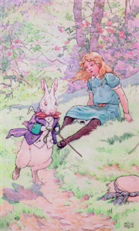 seated alice watching the white rabbit rushing by by frank adams
