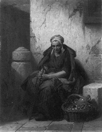 an old peasant woman leaning against a wall, a reeded basket with a jug by her feet, in a south european town by pierre paul alouis hunin