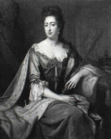portrait of queen mary ii holding her septre, the orb and crown behind by john van der vaart