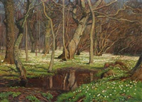 spring day in the woods by olaf viggo peter langer