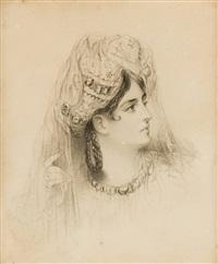 cabeza o retrato de dama joven vestida a la española o griega by maria del rosario weiss