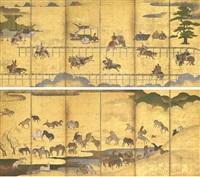horse race at the kamo shrine and horses in a field (pair of six-panel screens) by japanese school (18)