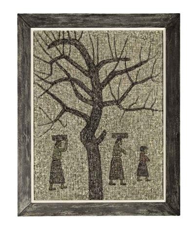 tree and three figures by park soo keun