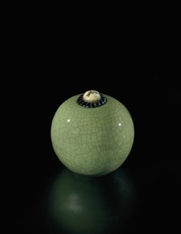 lidded pot with carved stopper by henri simmen and eugenie o'kin