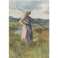 peasant girl in a field by georgina m. de l' aubiniere