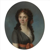 portrait of a young lady, half length, wearing a blue dress and a red hairband by marie-victoire lemoine